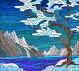 Иллюстрация в стиле витражного стекла с абстрактным зимним пейзажем, дерево на фоне воды, горы и небо, иллюстрация № 23802950 (c) Наталья Загорий / Фотобанк Лори