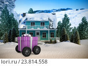 Купить «Composite image of gift on wheels», фото № 23814558, снято 16 декабря 2018 г. (c) Wavebreak Media / Фотобанк Лори