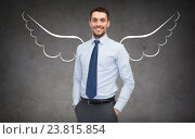Купить «happy businessman with angel wings over gray», фото № 23815854, снято 17 ноября 2018 г. (c) Syda Productions / Фотобанк Лори
