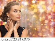 Купить «beautiful woman with gem stone earrings», фото № 23817970, снято 17 марта 2013 г. (c) Syda Productions / Фотобанк Лори