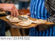 Купить «close up of scallop with garnish on seashell», фото № 23818522, снято 11 июня 2016 г. (c) Syda Productions / Фотобанк Лори