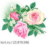 Розовые розы. Стоковая иллюстрация, иллюстратор Марина Глянь / Фотобанк Лори