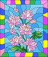 Иллюстрация в стиле витражного стекла с цветами, почками и листьями лотоса, иллюстрация № 23821774 (c) Наталья Загорий / Фотобанк Лори
