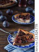 Купить «Сливовый пирог с корицей на голубых тарелках», фото № 23824778, снято 6 сентября 2016 г. (c) Сергей Вольченко / Фотобанк Лори