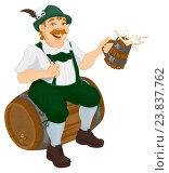 Купить «Мужчина немец в национальной одежде сидит на деревянной бочке и держит в руках кружку пива», иллюстрация № 23837762 (c) Алексей Григорьев / Фотобанк Лори
