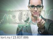 Купить «Businesswoman with dollar in business concept», фото № 23837886, снято 20 сентября 2019 г. (c) Elnur / Фотобанк Лори