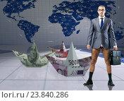 Купить «Bankrupt businessman with paper dollar boats», фото № 23840286, снято 20 сентября 2019 г. (c) Elnur / Фотобанк Лори