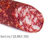 Сырокопченая колбаса на белом фоне. Стоковое фото, фотограф Евгений Ткачёв / Фотобанк Лори
