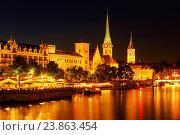 Купить «Fraumünster and Saint Peter church in Zurich, Switzerland», фото № 23863454, снято 26 августа 2016 г. (c) age Fotostock / Фотобанк Лори