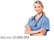 Купить «Confident young surgeon posing to camera», фото № 23866954, снято 2 октября 2014 г. (c) easy Fotostock / Фотобанк Лори