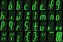 Цифровой шрифт из малых букв на зеленом буквенно-цифровой светодиодном дисплее, иллюстрация № 23901942 (c) Горбунов Владимир / Фотобанк Лори