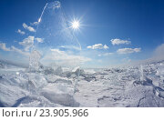 Купить «Ice floe and sun on winter Baikal lake», фото № 23905966, снято 17 марта 2013 г. (c) Serg Zastavkin / Фотобанк Лори
