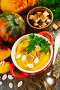 Тыквенный суп со сливками на столе, фото № 23909786, снято 24 октября 2016 г. (c) Надежда Мишкова / Фотобанк Лори