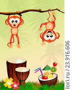 Купить «Illustration of monkeys with cocktail», фото № 23916606, снято 28 июля 2014 г. (c) easy Fotostock / Фотобанк Лори