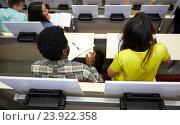 Купить «international students at university lecture hall», фото № 23922358, снято 19 июня 2016 г. (c) Syda Productions / Фотобанк Лори