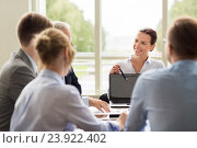 Купить «business people with laptop meeting in office», фото № 23922402, снято 3 июля 2016 г. (c) Syda Productions / Фотобанк Лори