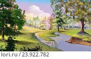 Купить «Осенний пейзаж с рекой и опушка леса», иллюстрация № 23922782 (c) Sergii Zarev / Фотобанк Лори