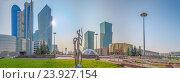 Купить «Панорама  при утреннем солнце центра города Астана», эксклюзивное фото № 23927154, снято 7 июля 2016 г. (c) Николай Сивенков / Фотобанк Лори