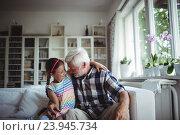 Купить «Senior man embracing his granddaughter», фото № 23945734, снято 1 июля 2016 г. (c) Wavebreak Media / Фотобанк Лори