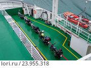 Купить «Мотоциклы с рюкзаками на палубе парома», иллюстрация № 23955318 (c) Александр Никифоров / Фотобанк Лори