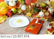 Купить «Дизайн сервировки осеннего стола», фото № 23957974, снято 25 октября 2016 г. (c) Татьяна Ляпи / Фотобанк Лори
