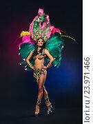 Купить «Симпатичная молодая девушка в красочном карнавальном костюме с перьями на темном фоне», фото № 23971466, снято 24 января 2015 г. (c) Евгений Захаров / Фотобанк Лори