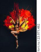 Купить «Девушка в разноцветном карнавальном костюме с перьями стоит на черном фоне», фото № 23971482, снято 24 января 2015 г. (c) Евгений Захаров / Фотобанк Лори