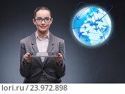 Купить «Businesswoman in air travel concept», фото № 23972898, снято 15 августа 2016 г. (c) Elnur / Фотобанк Лори