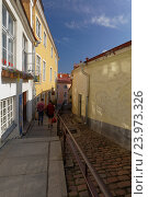 Купить «Narrow street of Old Tallinn», фото № 23973326, снято 20 августа 2016 г. (c) Stockphoto / Фотобанк Лори