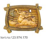 Купить «Деревянный сувенир. Обнаженные мужчина и женщина купаются в бане, сауне. Массаж, забота.», фото № 23974170, снято 13 июля 2016 г. (c) Несинов Олег / Фотобанк Лори