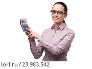 Купить «Young accountant with calculator isolated on white», фото № 23983542, снято 29 июля 2016 г. (c) Elnur / Фотобанк Лори