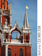 Купить «Архитектурный декор с белокаменными украшениями Троицкой башни Московского Кремля», эксклюзивное фото № 23985538, снято 19 февраля 2011 г. (c) lana1501 / Фотобанк Лори