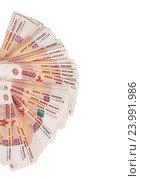 Купить «Пятитысячные купюры, веер», фото № 23991986, снято 20 апреля 2014 г. (c) Владимир Журавлев / Фотобанк Лори