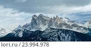 Купить «Winter Dolomite mountain panorama», фото № 23994978, снято 26 июня 2019 г. (c) Юрий Брыкайло / Фотобанк Лори