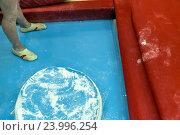 Купить «Ноги молодой российской гимнастки перед выступлением на ковре во время соревнований», фото № 23996254, снято 29 октября 2016 г. (c) Николай Винокуров / Фотобанк Лори