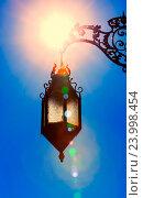 Купить «Силуэт старого фонаря в ярком солнечном свете», фото № 23998454, снято 29 марта 2014 г. (c) photoff / Фотобанк Лори