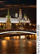 Ночной вид Московского Кремля (2015 год). Стоковое фото, фотограф Алексей Кузнецов / Фотобанк Лори