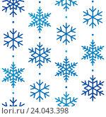 Купить «Бесшовный фон с узором из снежинок», иллюстрация № 24043398 (c) Евгения Малахова / Фотобанк Лори