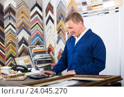 Купить «professional workman holding wooden picture framing moulding», фото № 24045270, снято 19 января 2019 г. (c) Яков Филимонов / Фотобанк Лори