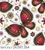 Купить «Бесшовный фон с бабочками», иллюстрация № 24097354 (c) Ольга Дроздова / Фотобанк Лори