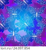 Купить «Бесшовный фиолетовый узор с бабочками», иллюстрация № 24097854 (c) Ольга Дроздова / Фотобанк Лори