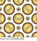 Купить «Золотые круги с рисунками бабочек», иллюстрация № 24098254 (c) Ольга Дроздова / Фотобанк Лори