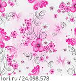 Купить «Фон с рисунками розовых цветов», иллюстрация № 24098578 (c) Ольга Дроздова / Фотобанк Лори