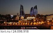 Купить «Ночной вид на башни Flame Towers («Пламенные башни»). Баку. Азербайджан», видеоролик № 24098918, снято 17 июля 2018 г. (c) Евгений Ткачёв / Фотобанк Лори