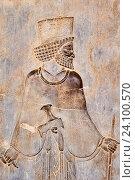 Купить «Iran, Fars Province, Persepolis, World Heritage of the UNESCO, staircases of Apadana, releif of the warriors.», фото № 24100570, снято 12 мая 2016 г. (c) age Fotostock / Фотобанк Лори
