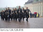 Купить «Марширующий под дождем отряд королевских гвардейцев. Фрагмент церемонии развода караула у Королевского дворца, Стокгольм, Швеция», фото № 24128818, снято 29 августа 2016 г. (c) Виктор Карасев / Фотобанк Лори