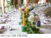 Купить «Свадебный стол», фото № 24130642, снято 3 сентября 2016 г. (c) Блинова Ольга / Фотобанк Лори