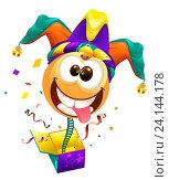 1 апреля - день дурака. Веселый клоун выскакивает из коробки. Стоковая иллюстрация, иллюстратор Алексей Григорьев / Фотобанк Лори
