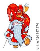 Купить «Дед Мороз с мешком подарков и символ 2017 года - красный петух с бокалом», эксклюзивная иллюстрация № 24147174 (c) Александр Павлов / Фотобанк Лори