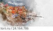 Акварельная живопись. Манарола, Италия. Стоковая иллюстрация, иллюстратор Alexander Tihonovs / Фотобанк Лори